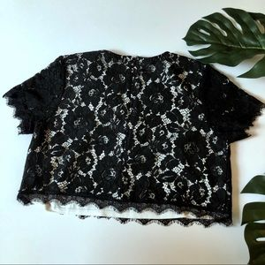 Truly You Tops - Lace short sleeve cropped top blouse
